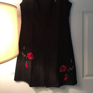 Dresses - Women Black Dress with Red Roses